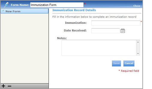 Blank Adult Immunization Record Form
