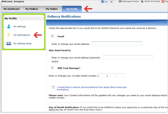 Get help managing your epost bills by setting up text message and/or email reminders.