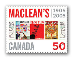 Canada Post honours a Canadian publishing icon...New stamp celebrates 100 years of Maclean's magazine