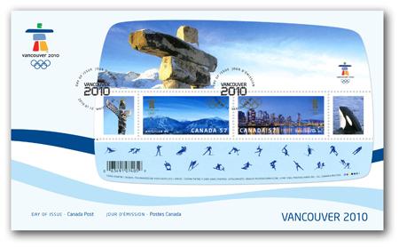 Timbres Officiels (Canada) des Jeux Olympiques de Vancouver 2010 2010_Olympic_Souvenir_Sheet-OFDC